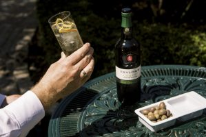 Taylor's Chip Dry Extra Dry White Port with port and tonic and olives(010)